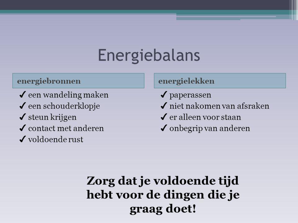 Energiebalans energiebronnenenergielekken ✔ een wandeling maken ✔ een schouderklopje ✔ steun krijgen ✔ contact met anderen ✔ voldoende rust ✔ paperass