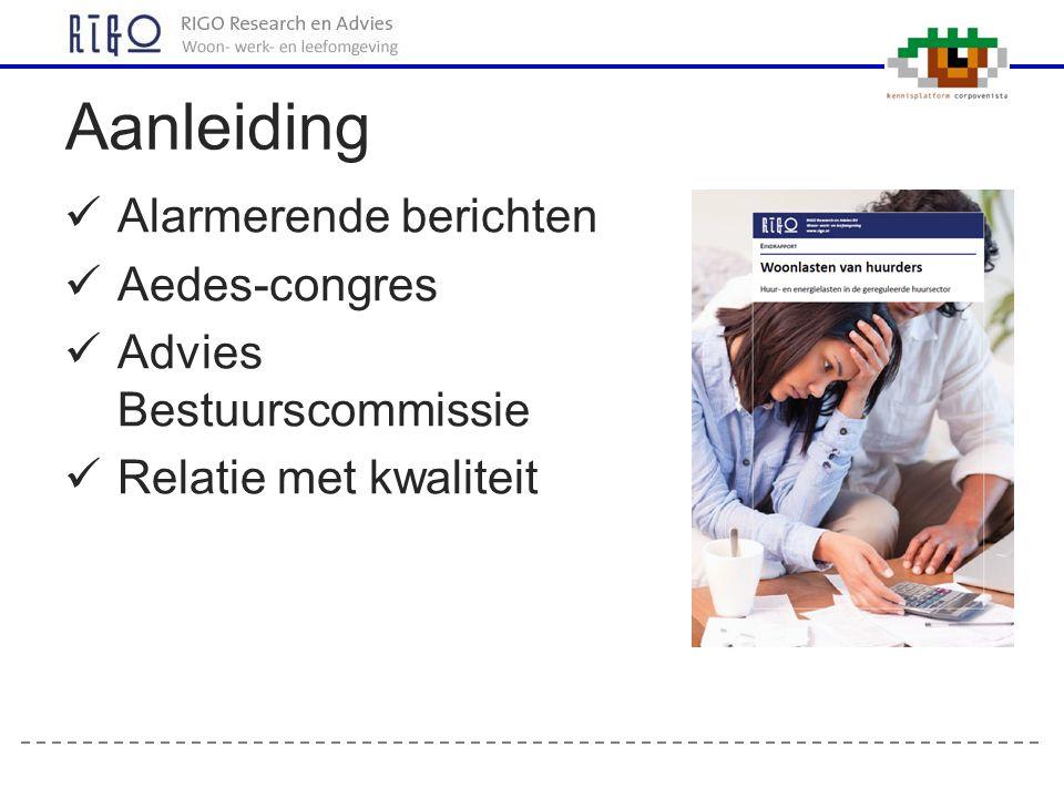 Alarmerende berichten Aedes-congres Advies Bestuurscommissie Relatie met kwaliteit Aanleiding