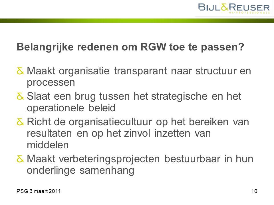 PSG 3 maart 201110 Belangrijke redenen om RGW toe te passen? Maakt organisatie transparant naar structuur en processen Slaat een brug tussen het strat