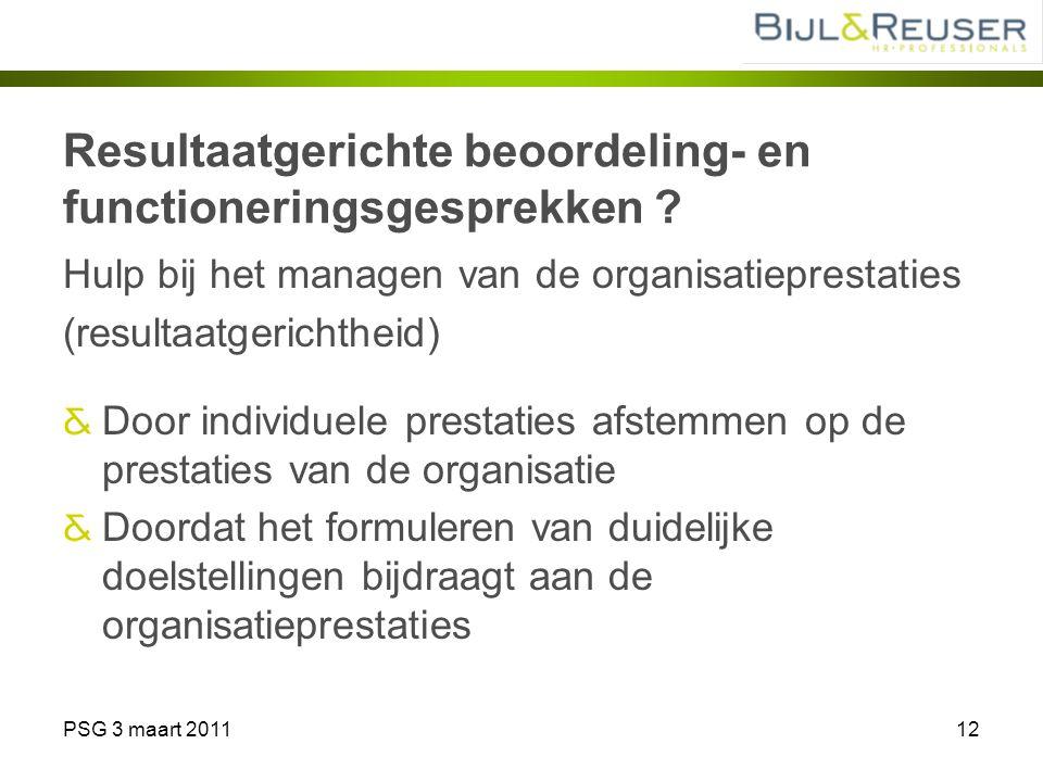 PSG 3 maart 201112 Resultaatgerichte beoordeling- en functioneringsgesprekken ? Hulp bij het managen van de organisatieprestaties (resultaatgerichthei