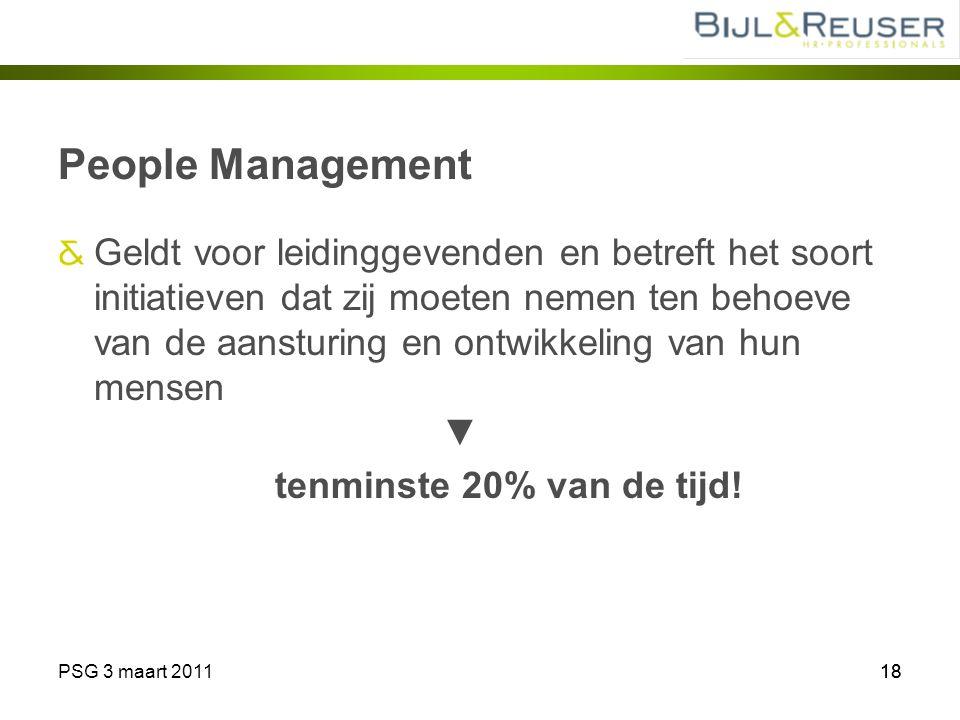PSG 3 maart 201118 People Management Geldt voor leidinggevenden en betreft het soort initiatieven dat zij moeten nemen ten behoeve van de aansturing e