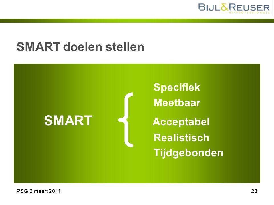 PSG 3 maart 201128 SMART doelen stellen Specifiek Meetbaar SMART Acceptabel Realistisch Tijdgebonden