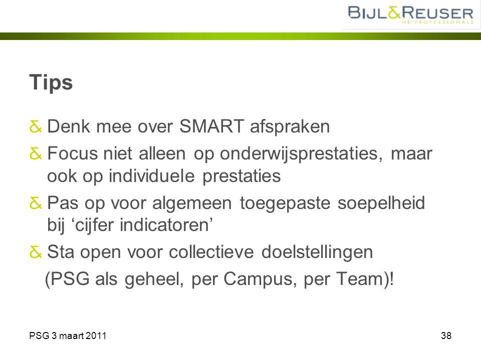 PSG 3 maart 201138 Tips Denk mee over SMART afspraken Focus niet alleen op onderwijsprestaties, maar ook op individuele prestaties Pas op voor algemee