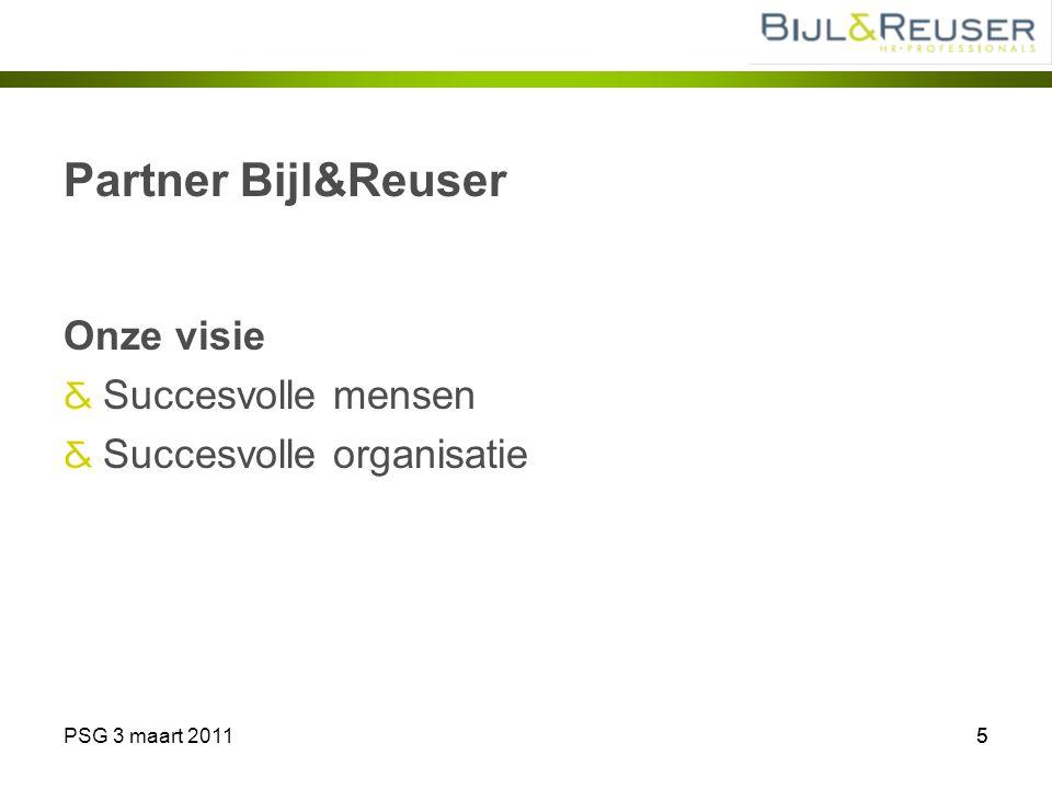 PSG 3 maart 201155 Partner Bijl&Reuser Onze visie Succesvolle mensen Succesvolle organisatie