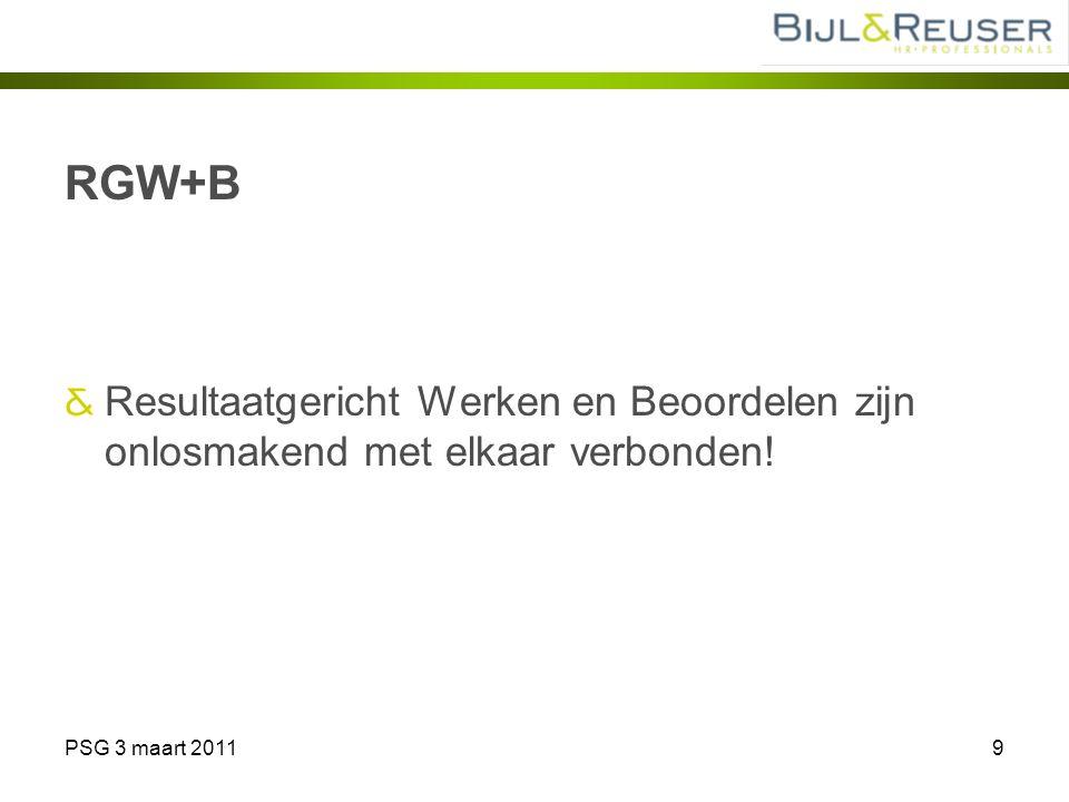 PSG 3 maart 20119 RGW+B Resultaatgericht Werken en Beoordelen zijn onlosmakend met elkaar verbonden!