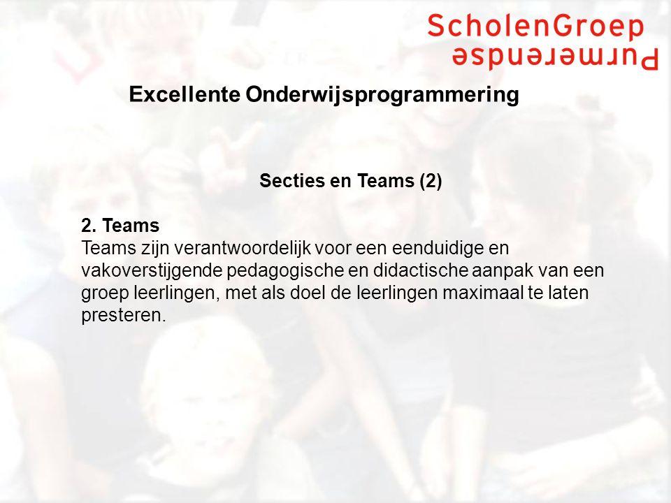 Excellente Onderwijsprogrammering Secties en Teams (2) 2.