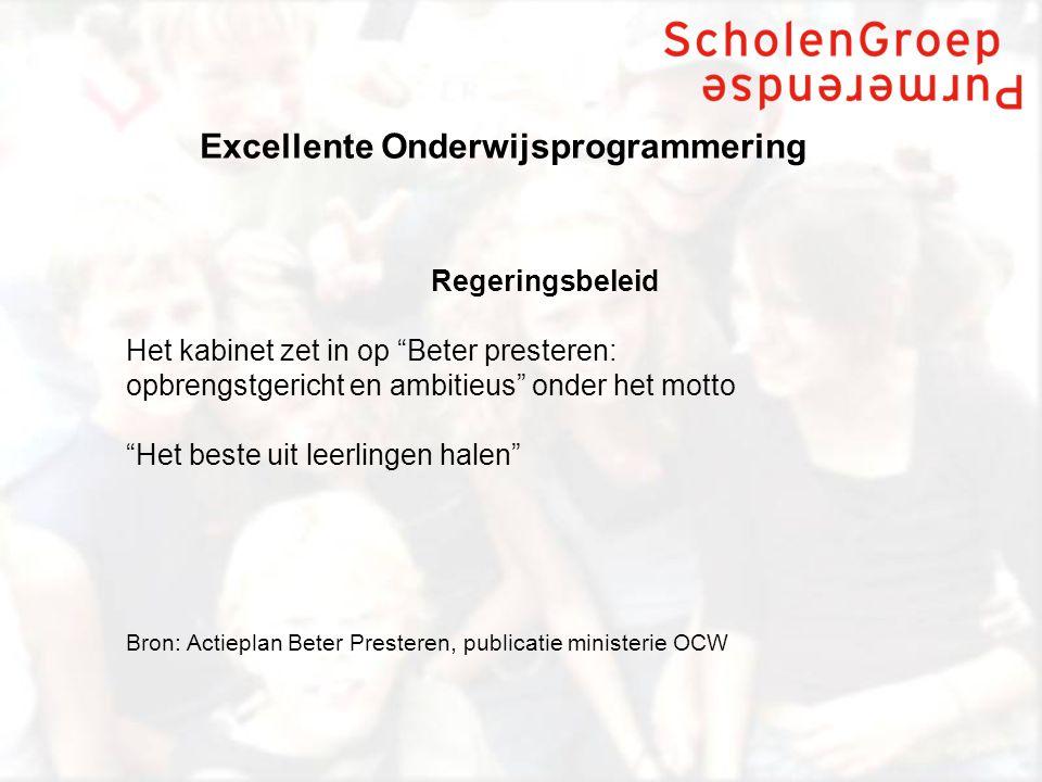 Excellente Onderwijsprogrammering Doelstellingen zijn nog niet in zicht Onderzoek wijst uit dat: 1.Nederland daalt op de internationale ranking (PISA); 2.Het Nederlands VO het redelijk doet bij de middengroep, matig presteert bij de cognitief zwakkere leerlingen en zwak presteert bij de cognitief sterkste leerlingen (o.a.