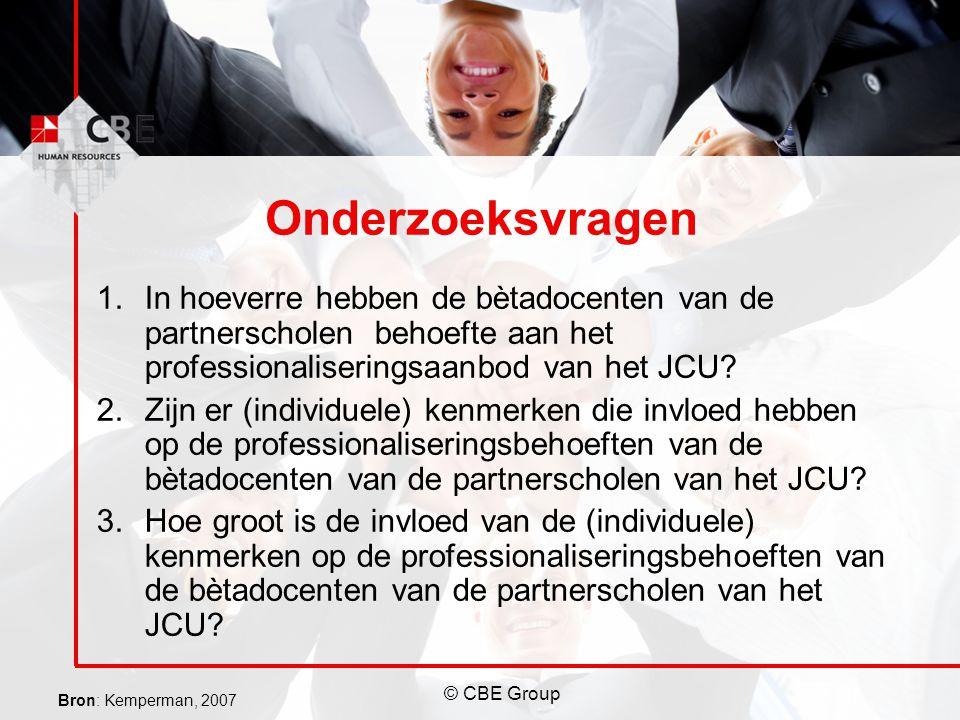 © CBE Group Onderzoeksvragen 1.In hoeverre hebben de bètadocenten van de partnerscholen behoefte aan het professionaliseringsaanbod van het JCU? 2.Zij