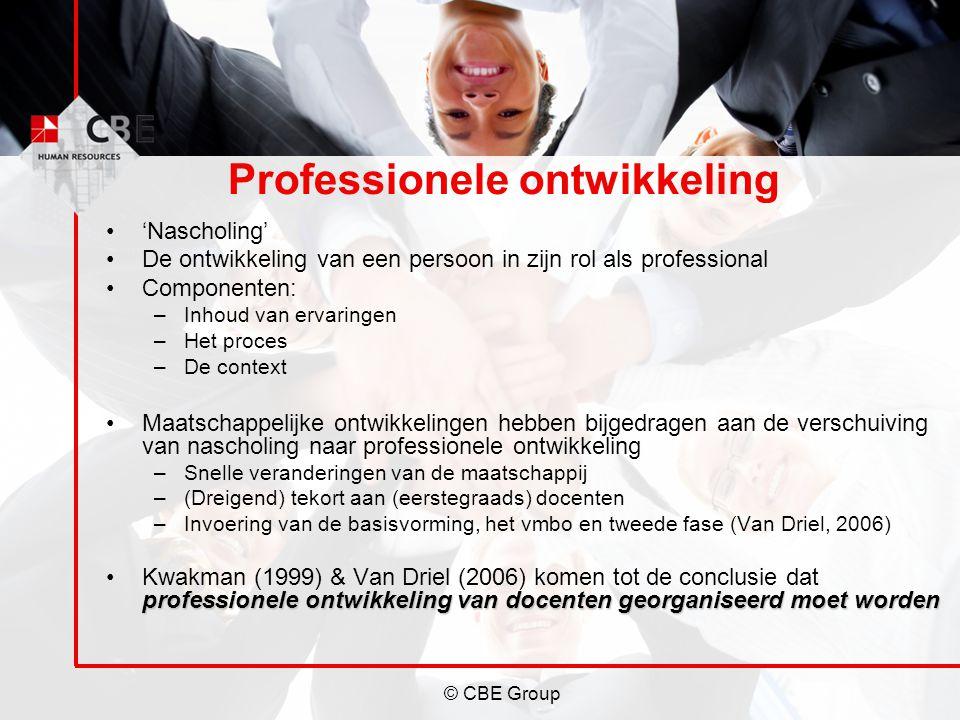 © CBE Group Professionele ontwikkeling 'Nascholing' De ontwikkeling van een persoon in zijn rol als professional Componenten: –Inhoud van ervaringen –