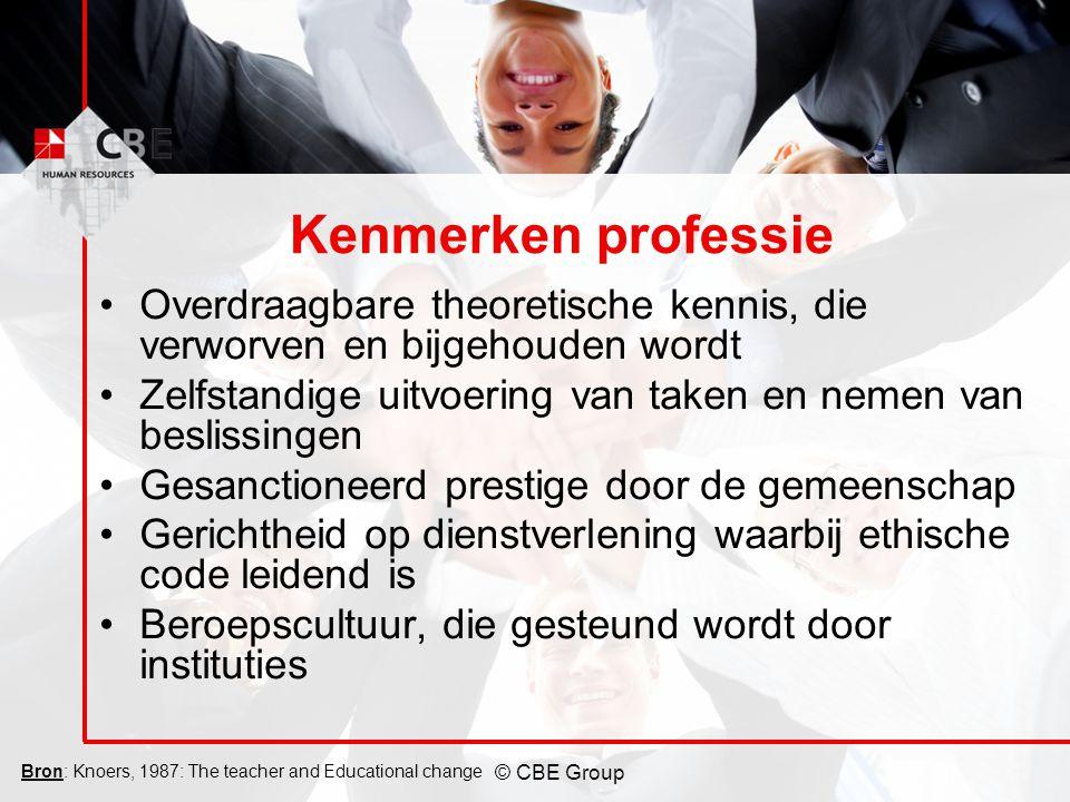 © CBE Group Kenmerken professie Overdraagbare theoretische kennis, die verworven en bijgehouden wordt Zelfstandige uitvoering van taken en nemen van b