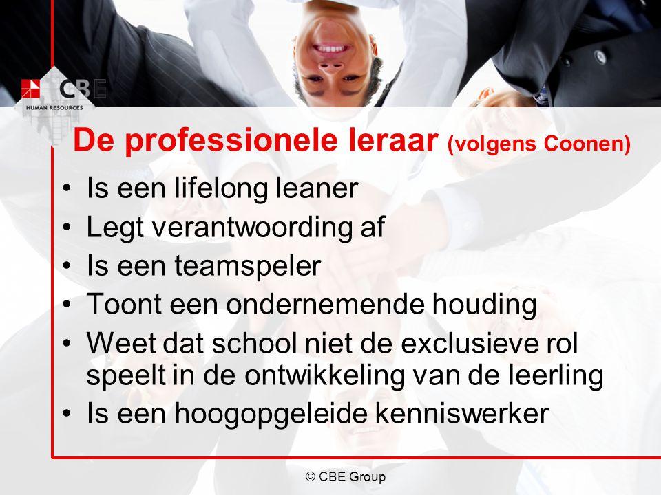 © CBE Group De professionele leraar (volgens Coonen) Is een lifelong leaner Legt verantwoording af Is een teamspeler Toont een ondernemende houding We
