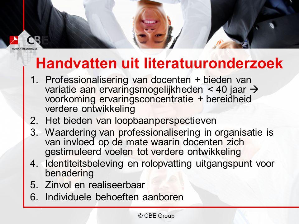 © CBE Group Handvatten uit literatuuronderzoek 1.Professionalisering van docenten + bieden van variatie aan ervaringsmogelijkheden < 40 jaar  voorkom