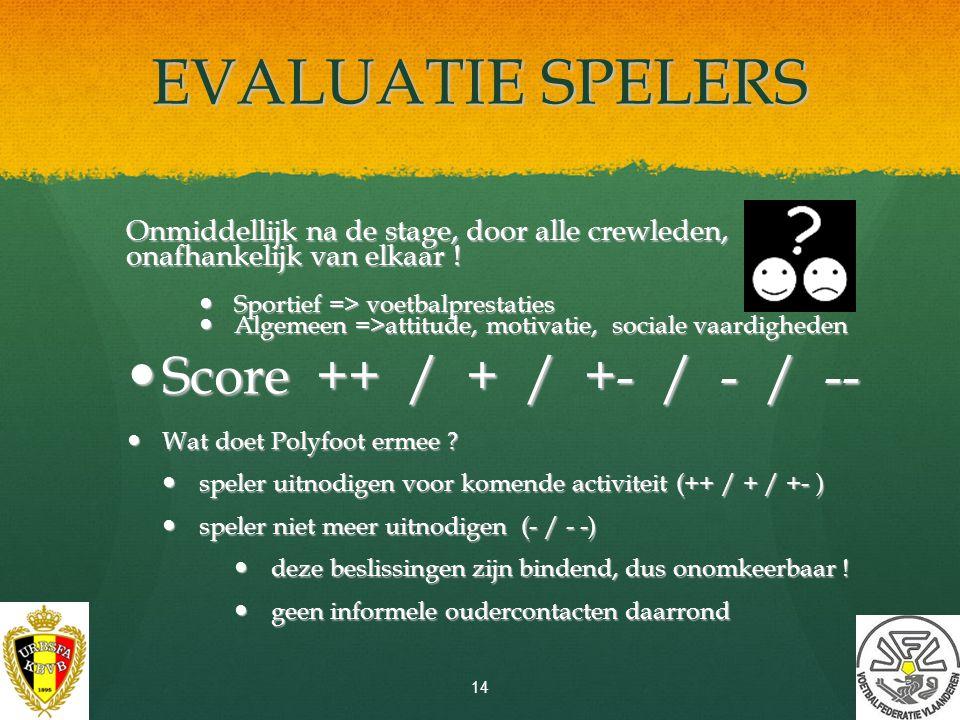 ONLINE EVALUEREN EVALUEER ALS SPELER & OUDER DE STAGE ONLINE EN WIN PERIODIEK… EVALUEER ALS SPELER & OUDER DE STAGE ONLINE EN WIN PERIODIEK… EEN POLYFOOT-TRAININGSPAK EEN POLYFOOT-TRAININGSPAK www.polyfoot.be > contact > evaluatieformulier 13