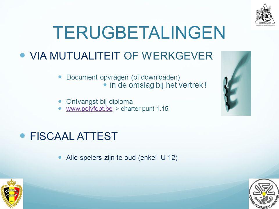 TERUGBETALINGEN VIA MUTUALITEIT OF WERKGEVER Document opvragen (of downloaden) in de omslag bij het vertrek .