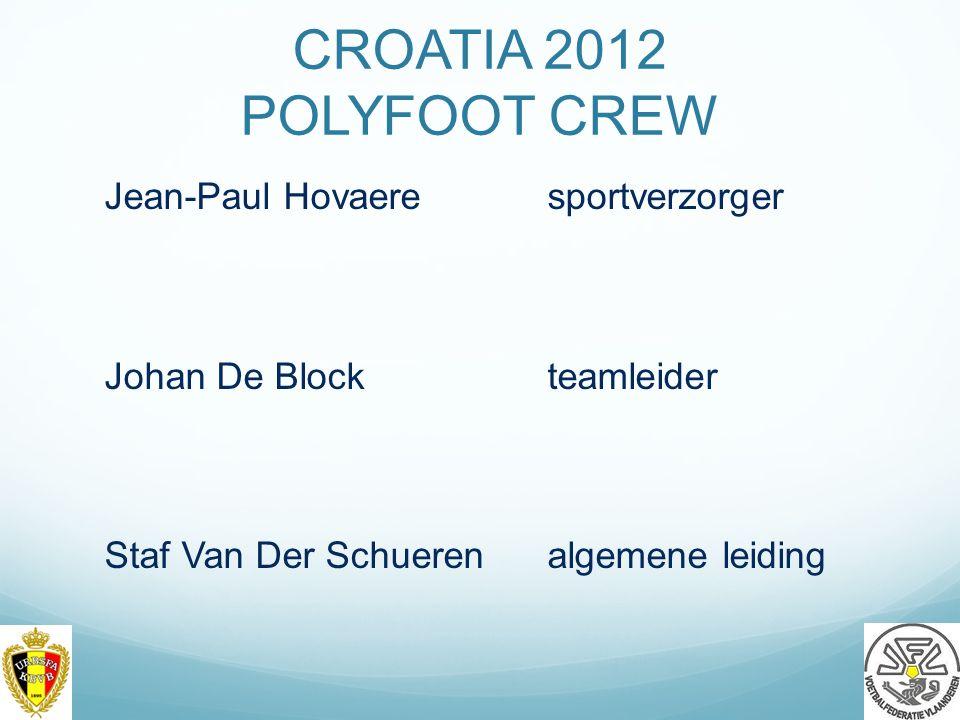 CROATIA 2012 POLYFOOT CREW Jean-Paul Hovaeresportverzorger Johan De Blockteamleider Staf Van Der Schuerenalgemene leiding 20