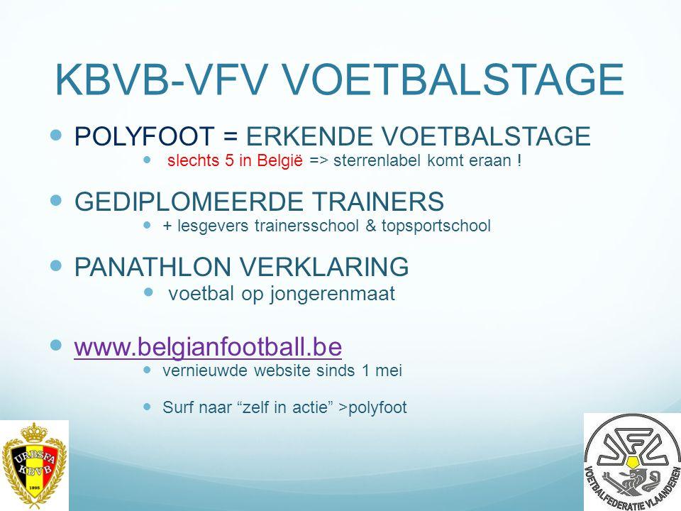 KBVB-VFV VOETBALSTAGE POLYFOOT = ERKENDE VOETBALSTAGE slechts 5 in België => sterrenlabel komt eraan .