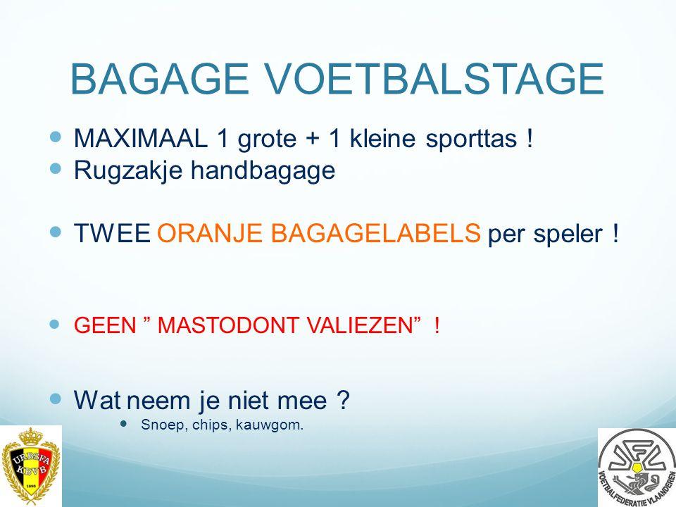 BAGAGE VOETBALSTAGE MAXIMAAL 1 grote + 1 kleine sporttas .