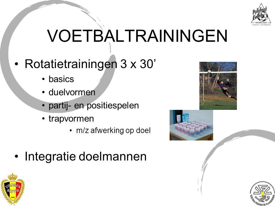 VOETBALTRAININGEN Rotatietrainingen 3 x 30' basics duelvormen partij- en positiespelen trapvormen m/z afwerking op doel Integratie doelmannen