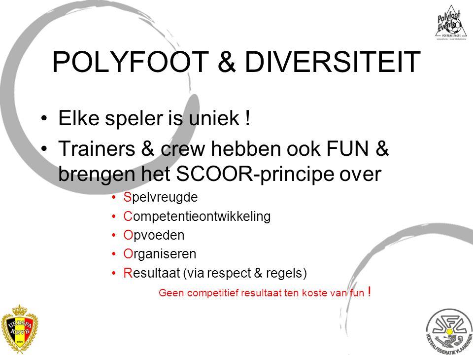 POLYFOOT & DIVERSITEIT Elke speler is uniek ! Trainers & crew hebben ook FUN & brengen het SCOOR-principe over Spelvreugde Competentieontwikkeling Opv