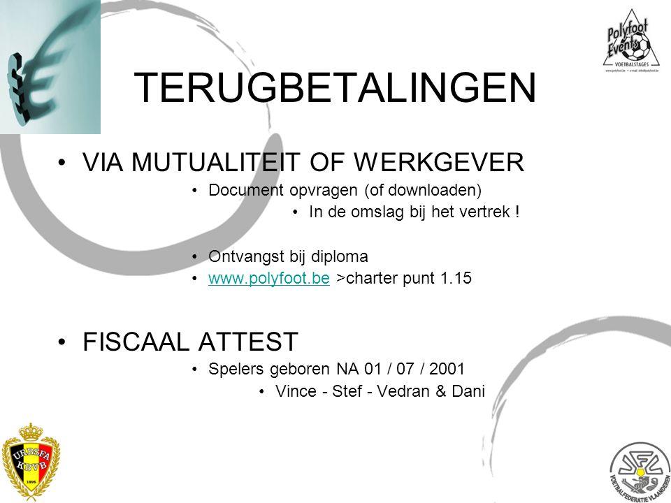 TERUGBETALINGEN VIA MUTUALITEIT OF WERKGEVER Document opvragen (of downloaden) In de omslag bij het vertrek ! Ontvangst bij diploma www.polyfoot.be >c