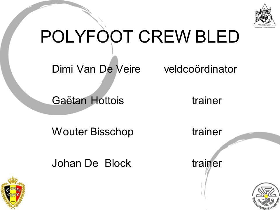 POLYFOOT CREW BLED Dimi Van De Veireveldcoördinator Gaëtan Hottoistrainer Wouter Bisschoptrainer Johan De Blocktrainer