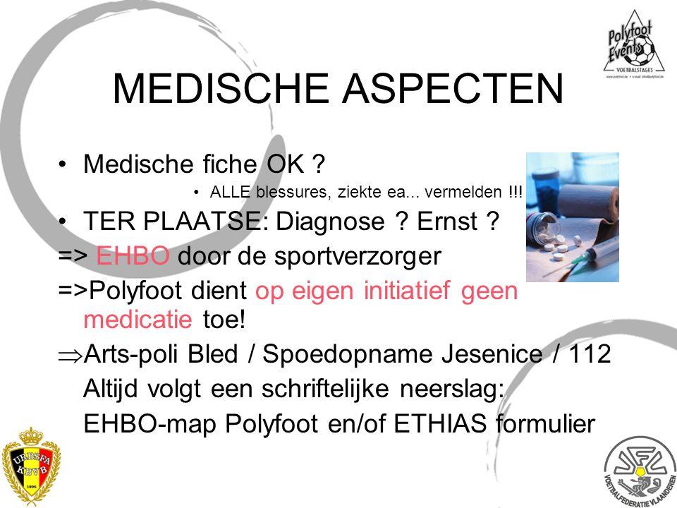 MEDISCHE ASPECTEN Medische fiche OK ? ALLE blessures, ziekte ea... vermelden !!! TER PLAATSE: Diagnose ? Ernst ? => EHBO door de sportverzorger =>Poly