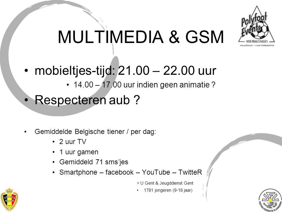 MULTIMEDIA & GSM mobieltjes-tijd: 21.00 – 22.00 uur 14.00 – 17.00 uur indien geen animatie ? Respecteren aub ? Gemiddelde Belgische tiener / per dag: