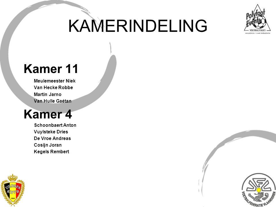 KAMERINDELING Kamer 11 Meulemeester Niek Van Hecke Robbe Martin Jarno Van Hulle Gaétan Kamer 4 Schoonbaert Anton Vuylsteke Dries De Vroe Andreas Cosij