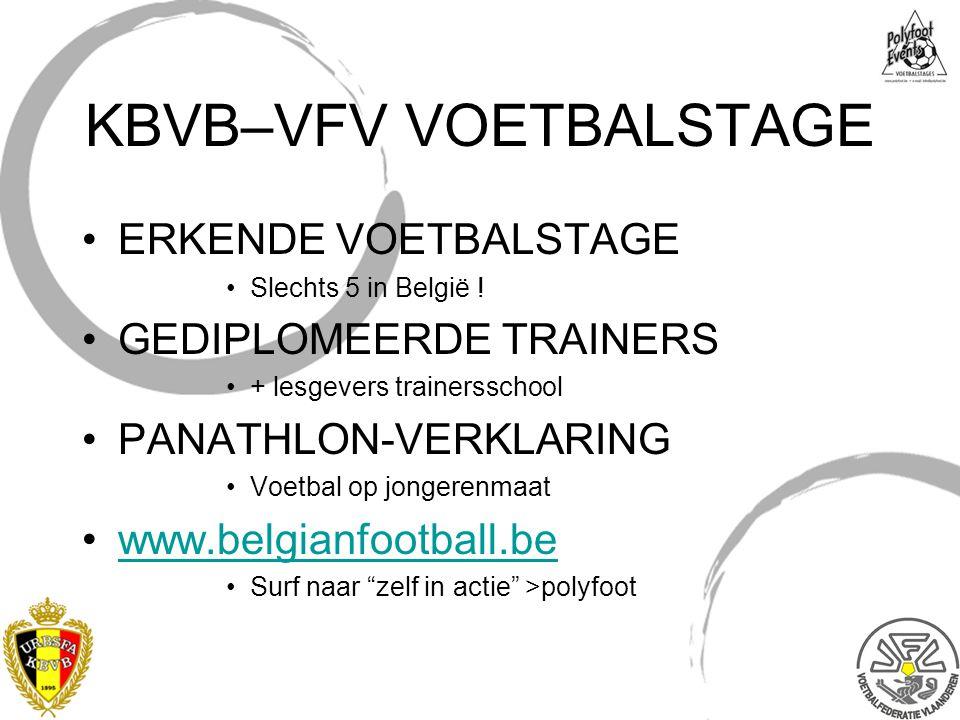 KBVB–VFV VOETBALSTAGE ERKENDE VOETBALSTAGE Slechts 5 in België ! GEDIPLOMEERDE TRAINERS + lesgevers trainersschool PANATHLON-VERKLARING Voetbal op jon