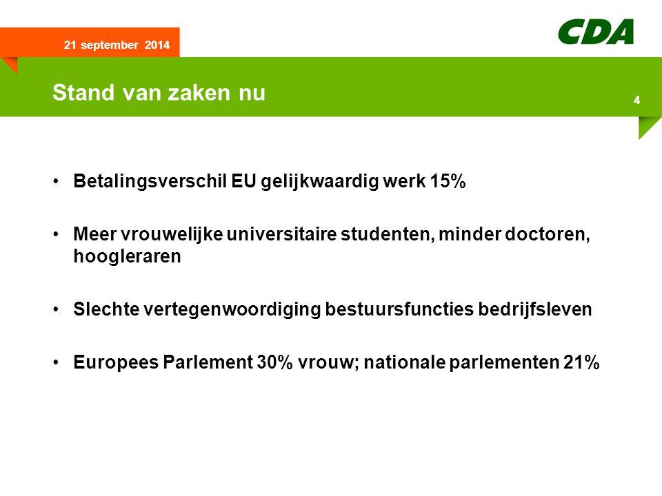 21 september 2014 4 Stand van zaken nu Betalingsverschil EU gelijkwaardig werk 15% Meer vrouwelijke universitaire studenten, minder doctoren, hoogleraren Slechte vertegenwoordiging bestuursfuncties bedrijfsleven Europees Parlement 30% vrouw; nationale parlementen 21%