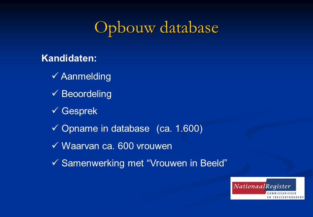 """Opbouw database Kandidaten: Aanmelding Beoordeling Gesprek Opname in database (ca. 1.600) Waarvan ca. 600 vrouwen Samenwerking met """"Vrouwen in Beeld"""""""