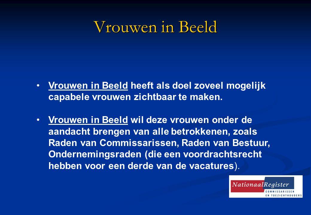 Vrouwen in Beeld Vrouwen in Beeld heeft als doel zoveel mogelijk capabele vrouwen zichtbaar te maken. Vrouwen in Beeld wil deze vrouwen onder de aanda