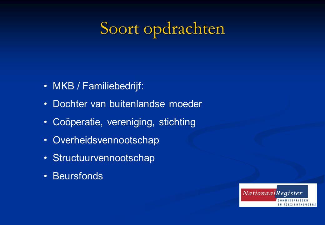 Soort opdrachten MKB / Familiebedrijf: Dochter van buitenlandse moeder Coöperatie, vereniging, stichting Overheidsvennootschap Structuurvennootschap B