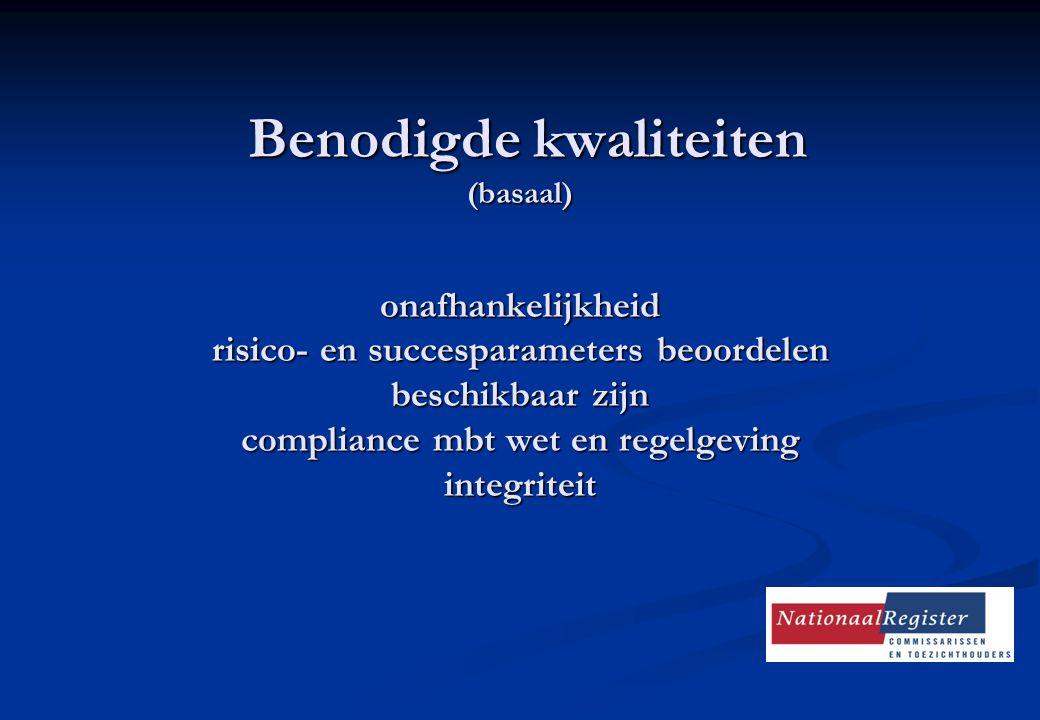 Benodigde kwaliteiten (basaal) onafhankelijkheid risico- en succesparameters beoordelen beschikbaar zijn compliance mbt wet en regelgeving integriteit
