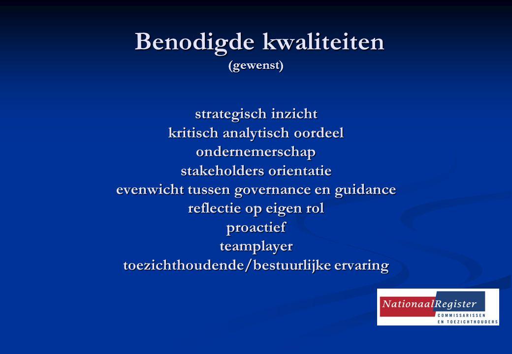 Benodigde kwaliteiten (gewenst) strategisch inzicht kritisch analytisch oordeel ondernemerschap stakeholders orientatie evenwicht tussen governance en guidance reflectie op eigen rol proactief teamplayer toezichthoudende/bestuurlijke ervaring Benodigde kwaliteiten (gewenst) strategisch inzicht kritisch analytisch oordeel ondernemerschap stakeholders orientatie evenwicht tussen governance en guidance reflectie op eigen rol proactief teamplayer toezichthoudende/bestuurlijke ervaring