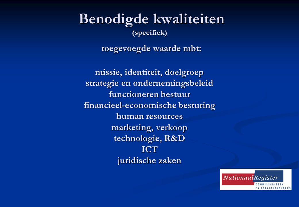 Benodigde kwaliteiten (specifiek) toegevoegde waarde mbt: missie, identiteit, doelgroep strategie en ondernemingsbeleid functioneren bestuur financieel-economische besturing human resources marketing, verkoop technologie, R&D ICT juridische zaken Benodigde kwaliteiten (specifiek) toegevoegde waarde mbt: missie, identiteit, doelgroep strategie en ondernemingsbeleid functioneren bestuur financieel-economische besturing human resources marketing, verkoop technologie, R&D ICT juridische zaken