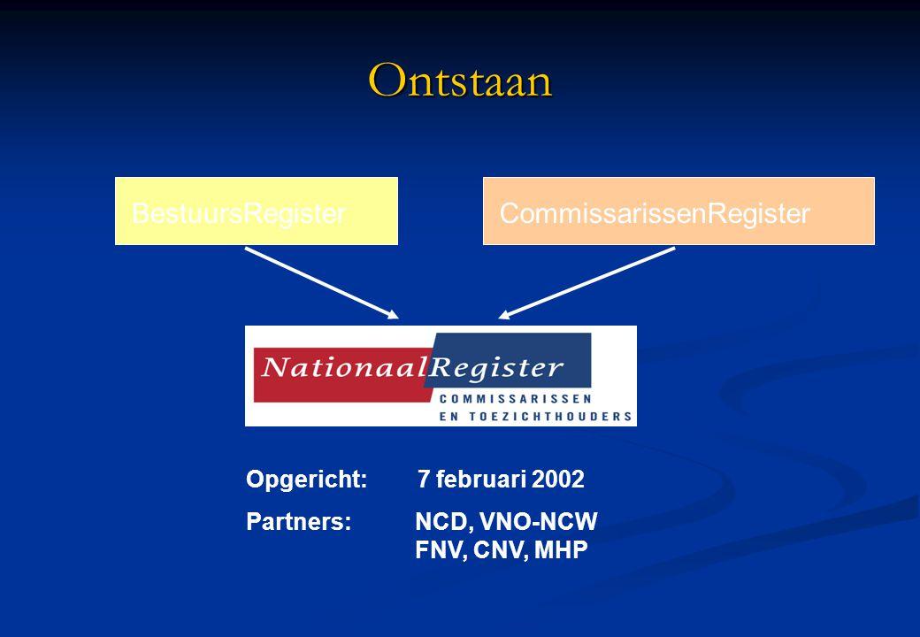 Ontstaan BestuursRegisterCommissarissenRegister Partners:NCD, VNO-NCW FNV, CNV, MHP Opgericht: 7 februari 2002
