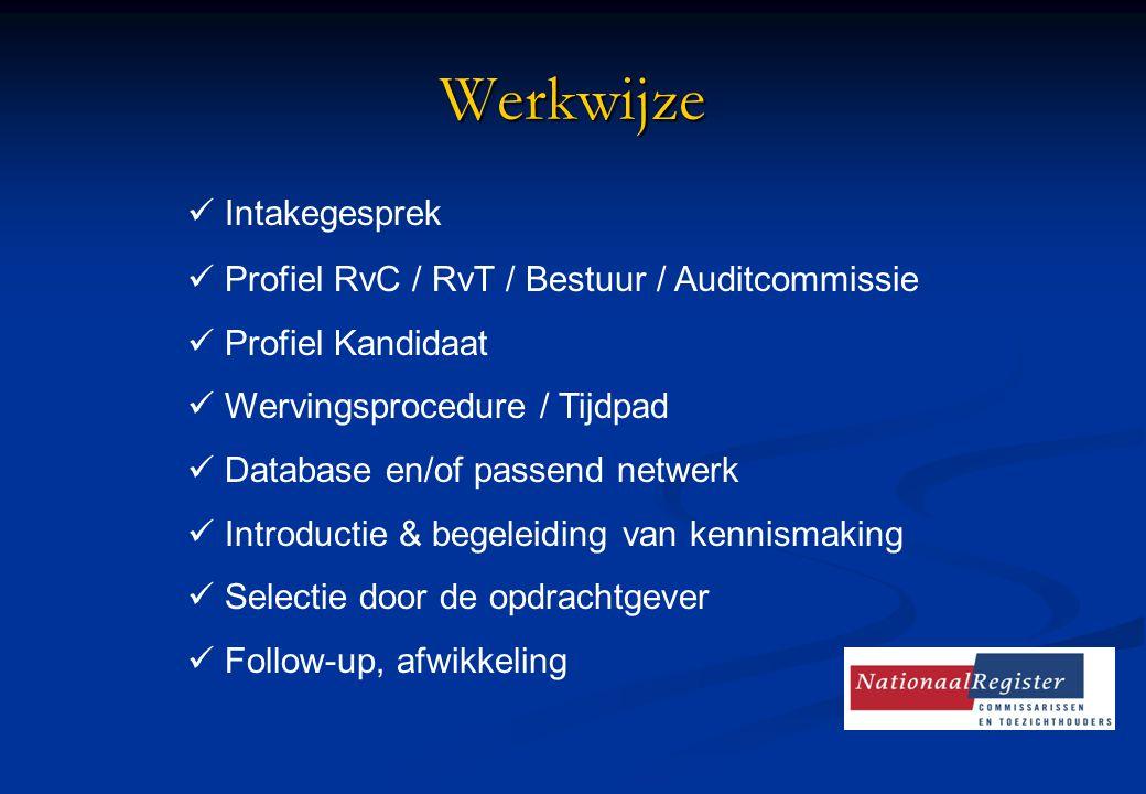 Werkwijze Intakegesprek Profiel RvC / RvT / Bestuur / Auditcommissie Profiel Kandidaat Wervingsprocedure / Tijdpad Database en/of passend netwerk Intr