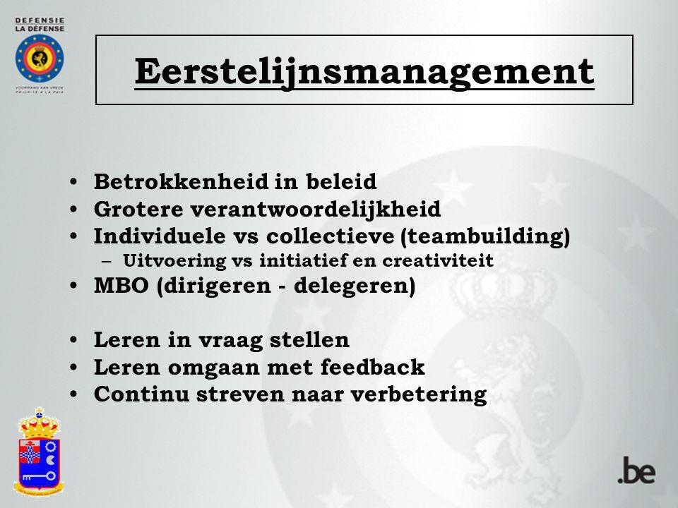 Eerstelijnsmanagement Betrokkenheid in beleid Grotere verantwoordelijkheid Individuele vs collectieve (teambuilding) – Uitvoering vs initiatief en cre