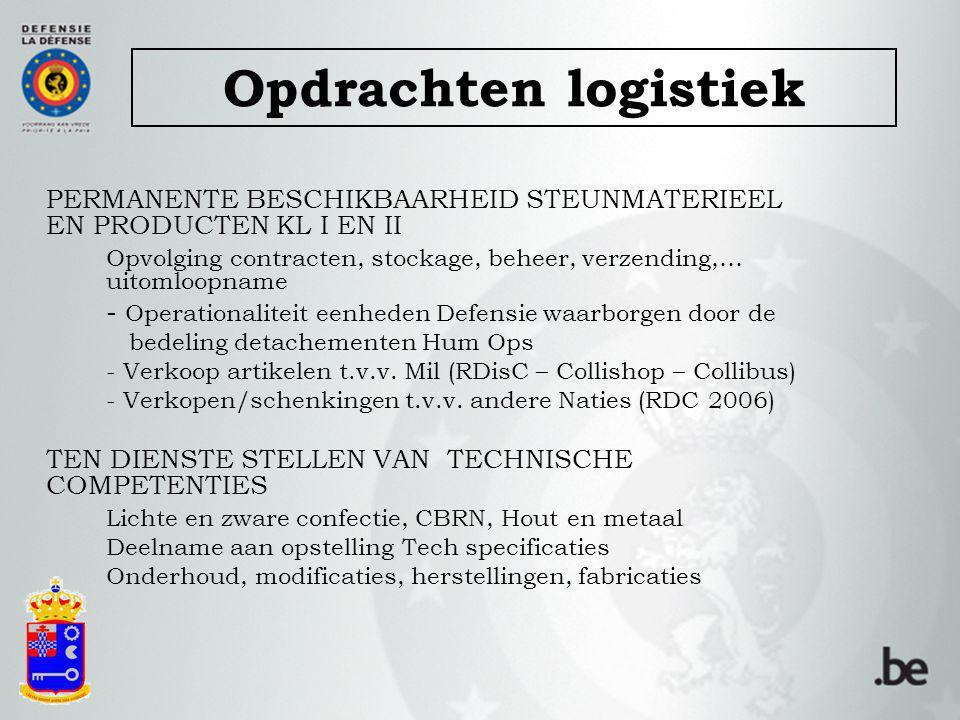 PERMANENTE BESCHIKBAARHEID STEUNMATERIEEL EN PRODUCTEN KL I EN II Opvolging contracten, stockage, beheer, verzending,… uitomloopname - Operationalitei