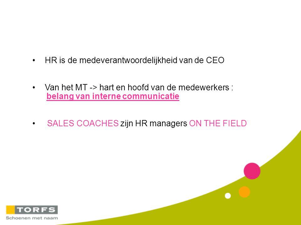 HR is de medeverantwoordelijkheid van de CEO Van het MT -> hart en hoofd van de medewerkers : belang van interne communicatie SALES COACHES zijn HR ma