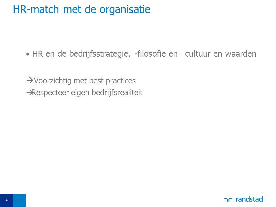 4 HR-match met de organisatie HR en de bedrijfsstrategie, -filosofie en –cultuur en waarden  Voorzichtig met best practices  Respecteer eigen bedrijfsrealiteit