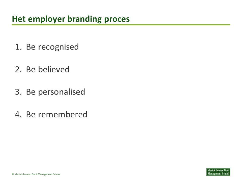 © Vlerick Leuven Gent Management School Het employer branding proces 1.