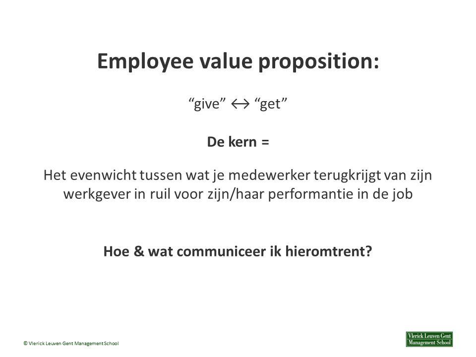 © Vlerick Leuven Gent Management School Employee value proposition: give ↔ get De kern = Het evenwicht tussen wat je medewerker terugkrijgt van zijn werkgever in ruil voor zijn/haar performantie in de job Hoe & wat communiceer ik hieromtrent?