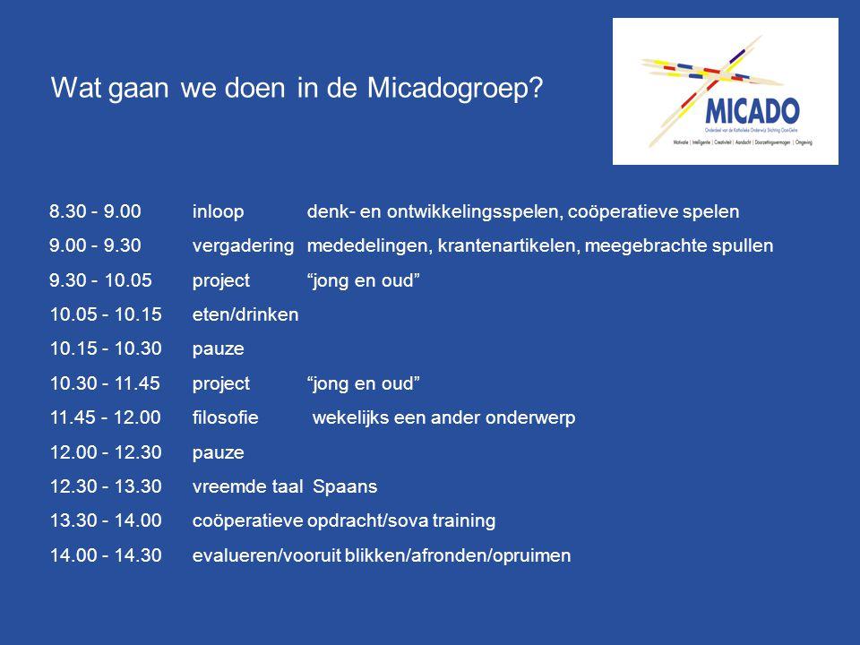Wat gaan we doen in de Micadogroep? 8.30 - 9.00 inloopdenk- en ontwikkelingsspelen, coöperatieve spelen 9.00 - 9.30 vergadering mededelingen, krantena