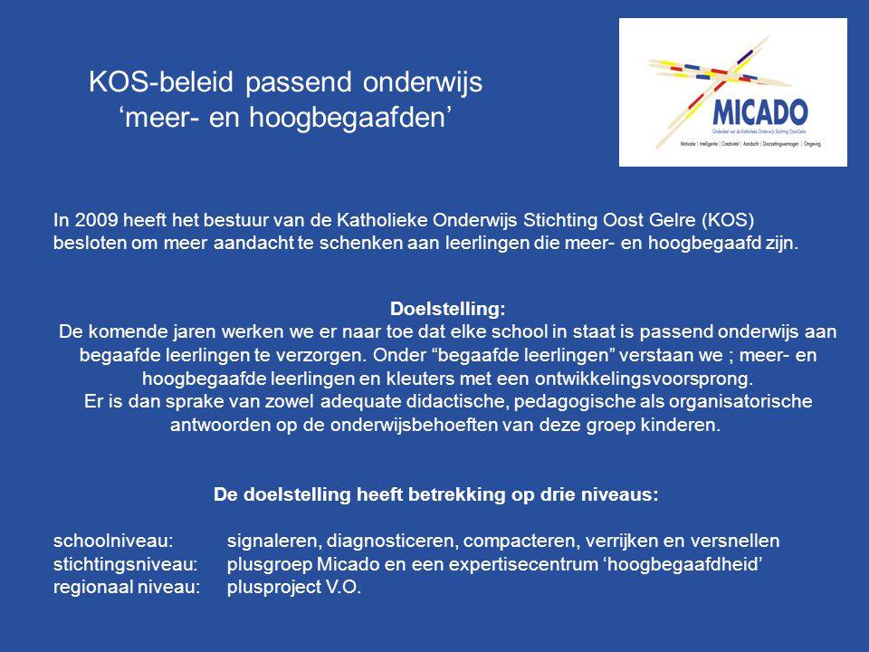 KOS-beleid passend onderwijs 'meer- en hoogbegaafden' In 2009 heeft het bestuur van de Katholieke Onderwijs Stichting Oost Gelre (KOS) besloten om mee