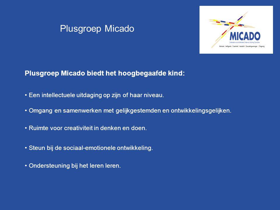Plusgroep Micado Plusgroep Micado biedt het hoogbegaafde kind: Een intellectuele uitdaging op zijn of haar niveau. Omgang en samenwerken met gelijkges