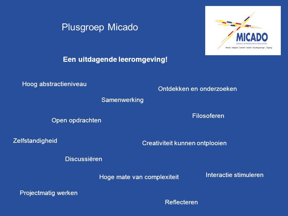 Plusgroep Micado Een uitdagende leeromgeving! Creativiteit kunnen ontplooien Open opdrachten Hoog abstractieniveau Hoge mate van complexiteit Projectm