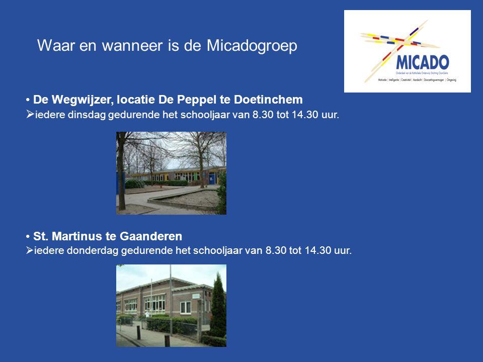 Waar en wanneer is de Micadogroep De Wegwijzer, locatie De Peppel te Doetinchem  iedere dinsdag gedurende het schooljaar van 8.30 tot 14.30 uur. St.