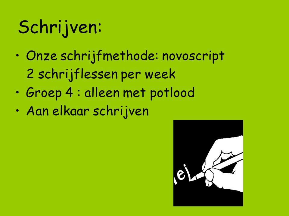 Schrijven: Onze schrijfmethode: novoscript 2 schrijflessen per week Groep 4 : alleen met potlood Aan elkaar schrijven